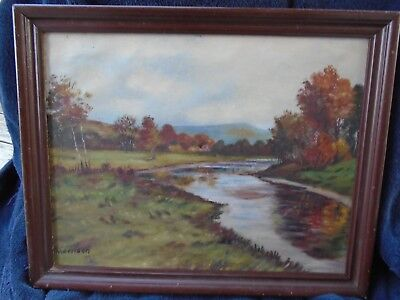 Oil Painting Peaceful River Winding Through Meadow Great Color Signed Morrison