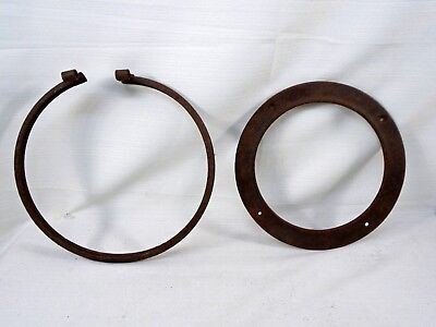"Steampunk Hardware Stove Pipe Ring & Trim Case Iron Beauty for 8"" Pipe Mirror"