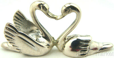 Miniature Sterling Silver Kissing Swans Figurine #209