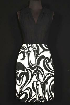Rare French Vintage 1960's-Early 1970's Black And White Poly Knit Dress Size 4+