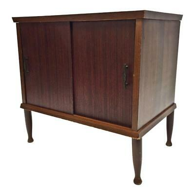 Mid Century Record Cabinet danish modern vintage wood table stand sliding doors