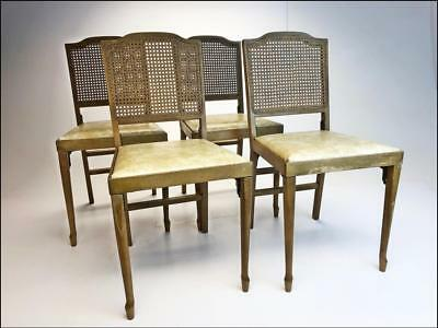 4 Vintage FOLDING WOOD CHAIR SET wooden portable caned back LEG-O-MATIC wedding