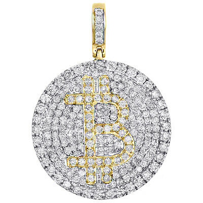 "10K Yellow Gold Diamond Bitcoin Currency Pendant 1.80"" Initial B Charm 2.50 CT."