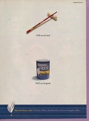 1998 Magazine Advertisement Page Maxwell House Lite Coffee Can Ad