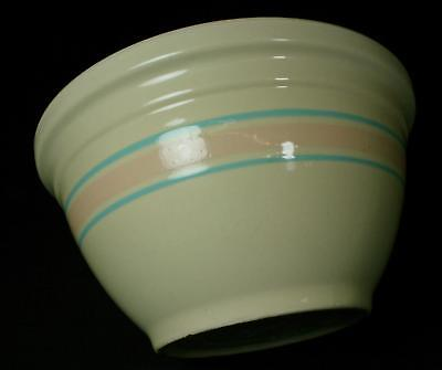 """Vintage McCoy 12"""" Mixing Bowl With Pink & Blue Stripes 1950s"""