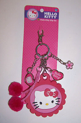 Licensed Sanrio HELLO KITTY KEY CHAIN Ring Clip-On FOB KEYCHAIN Charms Pom-Poms