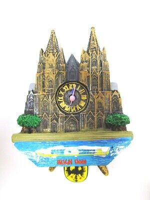 Cologne Cathedral Cuckoo Clock Magnet, Poly Souvenir Germany, Right Clock 15 cm