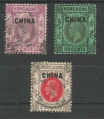 HONG KONG/CHINA OVERPRINTS 1922-27 GV 25c,50c & $2 FINE USED CAT £675 ,SEE SCAN