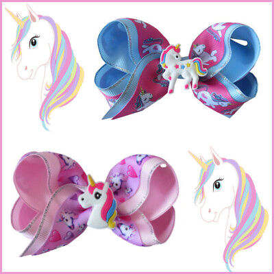 """20 BLESSING Girl 4"""" Two Tone ABC Bow Clip Unicorn Pony Hairbow Silver Grosgrain"""