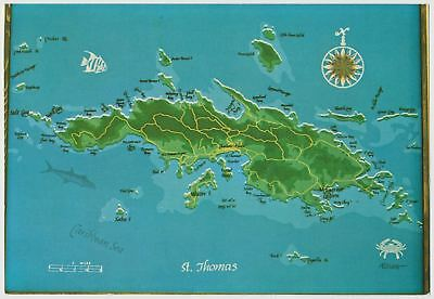 vintage map postcard st thomas us virgin islands