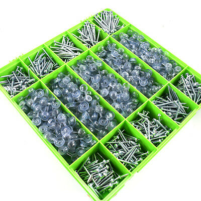 1000 Assorted Corrugated Roofing Screws & Clear Strap Caps For Sheet Roofing Kit