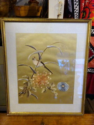 A Vintage Chinese Silk Embroidery Framed