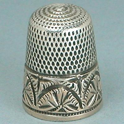 Antique Gold Band Sterling Silver Thimble by Simons Brothers * Circa 1890s