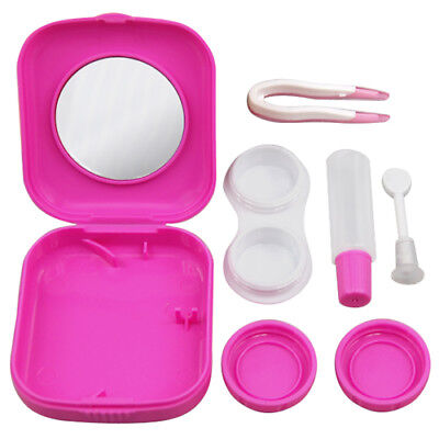 Pink Mini Contact Lens Travel Kit Case Pocket Size Storage Holder Container