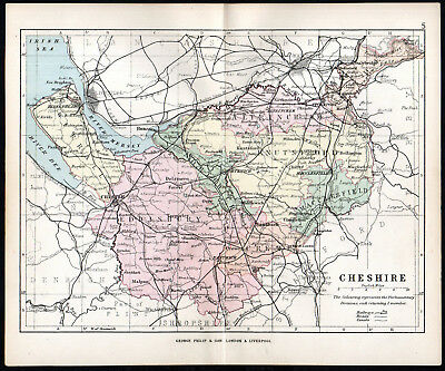 COUNTY OF CHESHIRE 1891 George Philip & Son ANTIQUE MAP