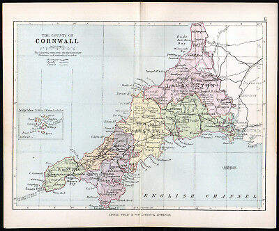 COUNTY OF CORNWALL 1891 George Philip & Son ANTIQUE MAP