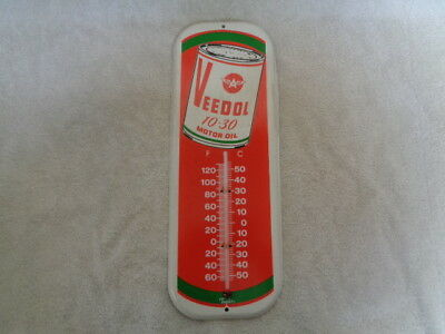 Vintage Veedol Flying A 10-30 Motor Oil Thermometer Sign