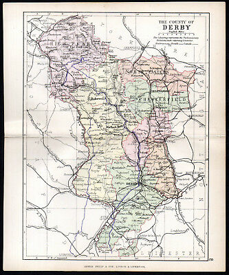 COUNTY OF DERBY 1891 George Philip & Son ANTIQUE MAP