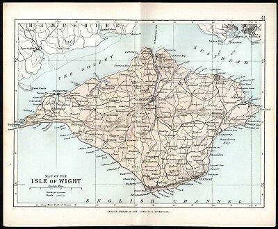 ISLE OF WIGHT 1891 George Philip & Son ANTIQUE MAP