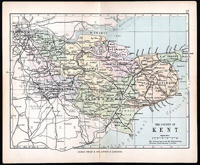 COUNTY OF KENT 1891 George Philip & Son ANTIQUE MAP