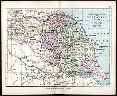 NORTH AND EAST RIDINGS OF YORKSHIRE 1891 George Philip & Son ANTIQUE MAP