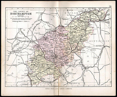 COUNTY OF NORTHAMPTON 1891 George Philip & Son ANTIQUE MAP