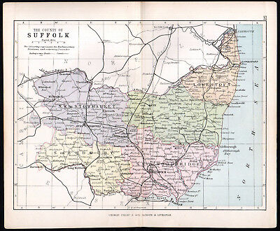 COUNTY OF SUFFOLK 1891 George Philip & Son ANTIQUE MAP