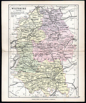 COUNTY OF WILTSHIRE 1891 George Philip & Son ANTIQUE MAP