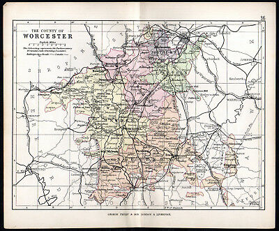 COUNTY OF WORCESTER 1891 George Philip & Son ANTIQUE MAP