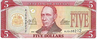 Liberia 2003 5 Dollars Currency Unc