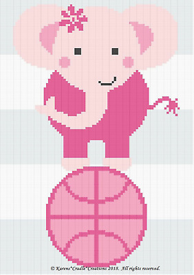 CROCHET PATTERNS - SPORTS - ELEPHANT ON BASKETBALL BABY GIRL Color Graph  Pattern