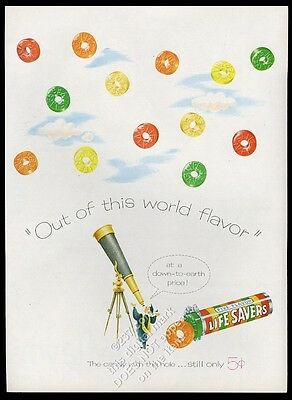 1946 Life Savers five flavors candy astronomer telescope art vintage print ad