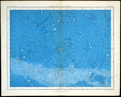 MAPS OF THE STARS - THE NORTH POLE 1856 Alex Johnston ANTIQUE CHART