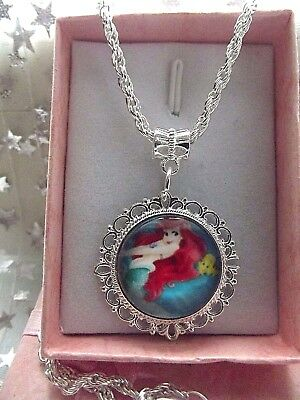 Princess Little  Mermaid Ariel Necklace Strong 16 Inch  Gift Box Party Birthday