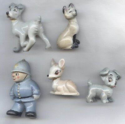 WADE Porcelain Figures x5 - all damaged - NODDY / LADY & THE TRAMP etc