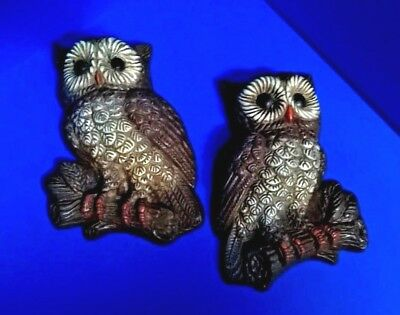 Vintage Owls molded hard foam wall hanging plaques