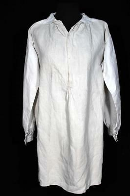 Rare French Antique 19Th Century Flax Linen Hand Made Shirt Size Large