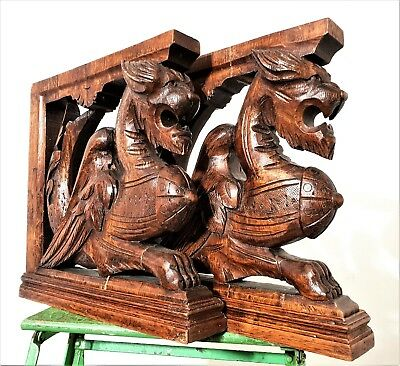 Dragon Corbel Bracket Pair Antique French Hand Carved Wood Architectural Salvage