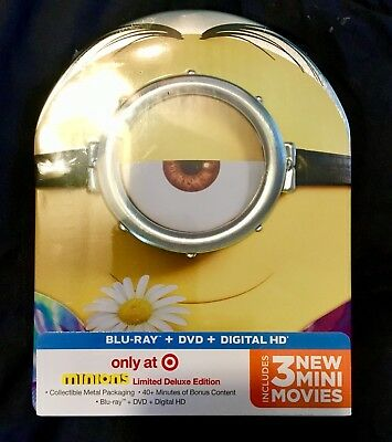 MINIONS STEELBOOK Blu-ray/Dvd/digital Metal Pack Target Limited Deluxe Edition 3