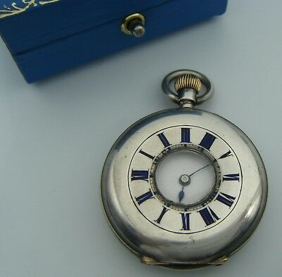 Antique High Grade Silver  C19th Century French Pocket Watch With Enamel Details