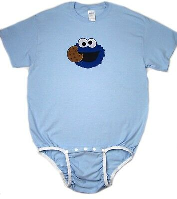 adult Cookie Monster baby blue color bodysuit OneSuit autism, incontinence