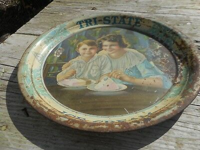Vintage RARE Litho K&S Advertising TRI STATE DAIRY ICE Cream Tray w Mom & Child