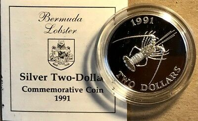 BERMUDA - Two Dollars $2 - 1991 - Spiny Lobster - Proof Silver Crown - COA