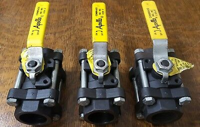 "Lot of 3 Apollo 3-Piece Carbon Steel Socket Weld Ball Valve 1"" 83-305-01A"