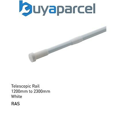 White Telescopic Extending Shower Curtain Rail 1200mm to 2300mm