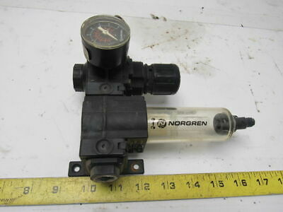 "Norgren Excelon F72G-3AN-QL3 150 PSI Inline Air Filter Regulator FR 3/8"" Ports"