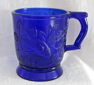 Vintage MOSER Cobalt Blue Pressed Glass Mug Cup ~ Birds, Leaves, Star, EX