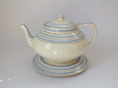 Vintage Art Deco Crown Ducal Teapot And Stand Blue Silver