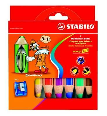 #5xFarbstift Stabilo-Woody 3in1 6er Pappetui mit Spitzer 88062