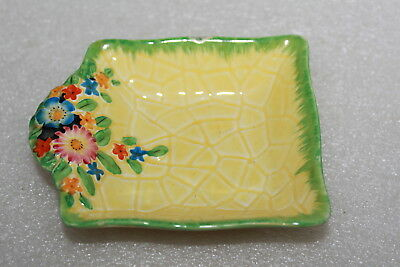 Crown Devon Art Deco Small Square Dish With Embossed Flowers